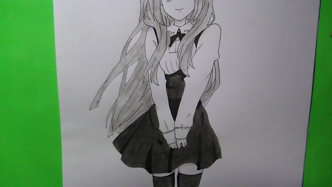 Como dibujar/pintar chica anime/manga school - YouTube