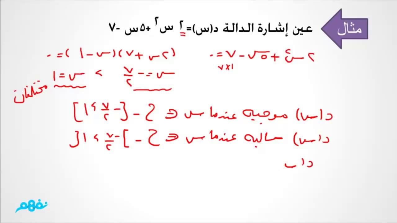 بحث اشارة الدالة الرياضيات للصف الأول الثانوي موقع نفهم