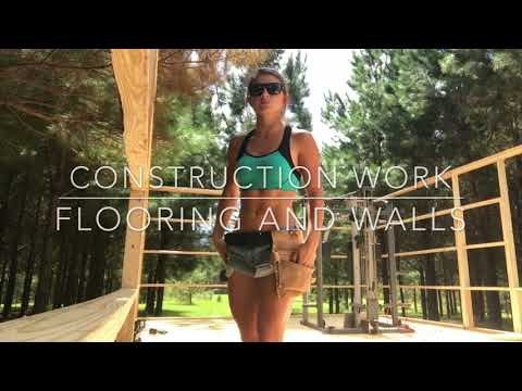 Girl doing Construction Work - Flooring and Walls