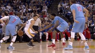 stephen curry through the legs behind the back for step back three in traffic clippers at warriors