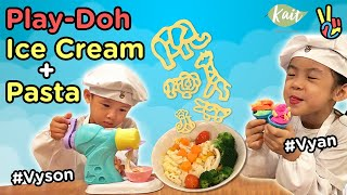 Play Doh Ice Cream + Pasta | Kids Have Fun Learning the Colors and Animals | 培樂多彩泥冰淇淋機