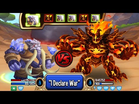 🔴Monster Legends - Lord Mammoth level 130 vs Vadamagma level 130 review combat good monster :v