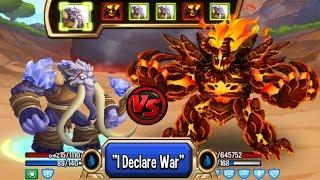 🔴Monster Legends - Lord Mammoth level 130 vs Vadamagma level 130 review combat good monster :v