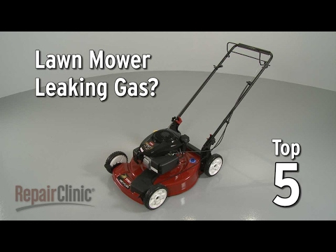 "Thumbnail for video ""Lawn Mower Leaking Gas? Lawn Mower Troubleshooting"""
