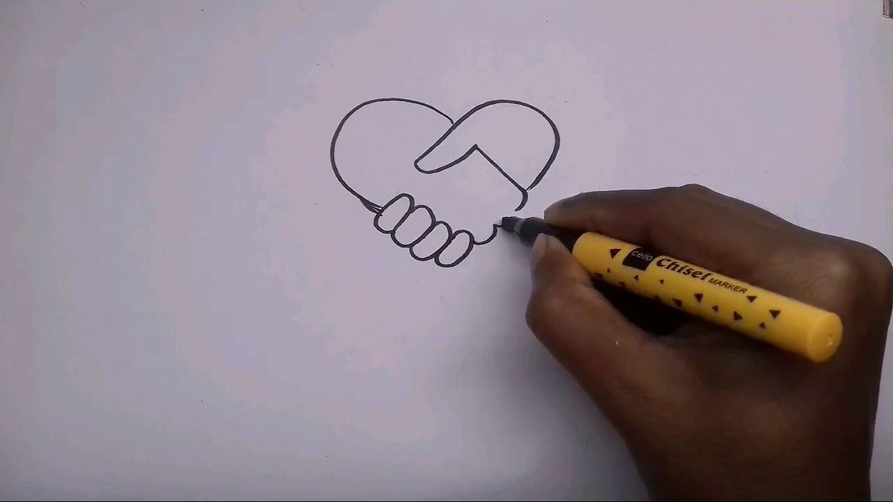 How To Draw A Loving Handshake Youtube
