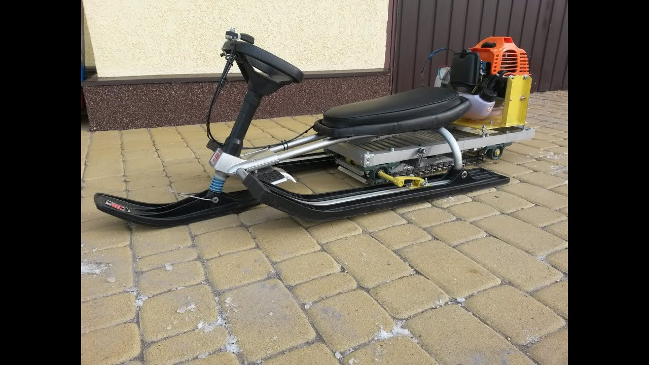 Homemade snowmobile for kids of grass-cutter and sled / DIY mini-snowmobile