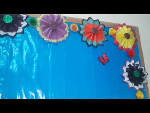 Classroom soft board decoration ideas 2017 youtube for Fomic sheet decoration youtube