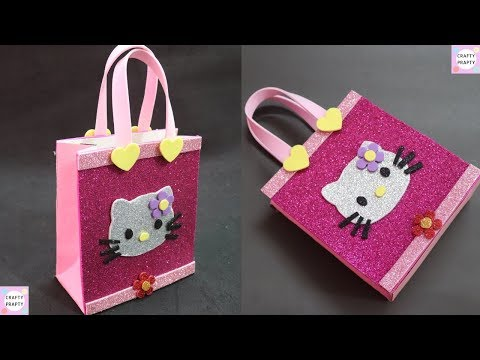 How to make Gift Bag/ DIY Hello kitty Paper Bag/DIY Paper bag for treat/DIY Goodie bag /candy bag