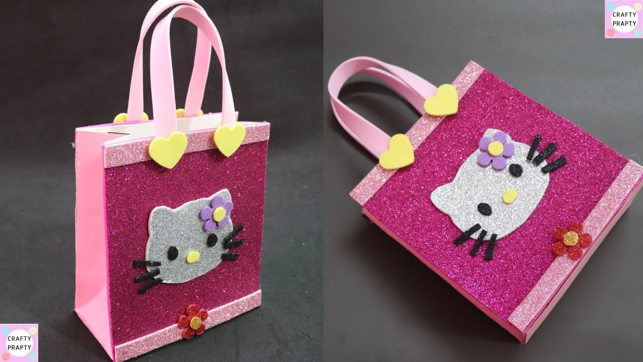 How to make Gift Bag  DIY Hello kitty Paper Bag DIY Paper bag for treat DIY  Goodie bag  candy bag 2a42bd8ddfb99