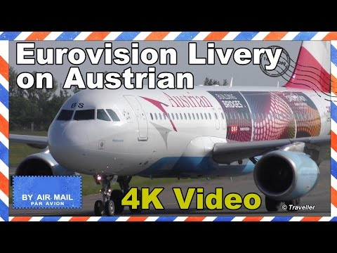 Eurovision Livery on Austrian Airlines Airbus A320 at Copenhagen - OE-LBS - Flight OS303 - 4K video
