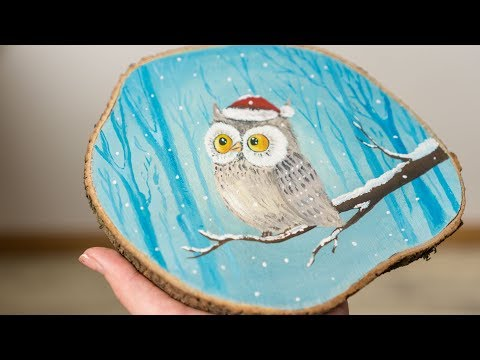 Owl in a Snowy Forest Waiting for Christmas - Acrylic painting / Homemade Illustration (4k)