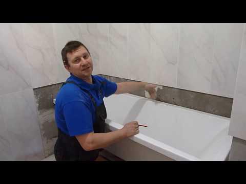 Этапы ремонта ванной комнаты. Стык плитки и ванны