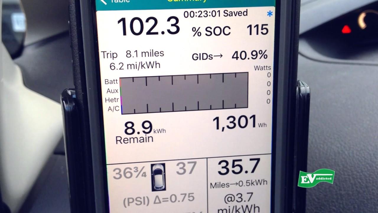 2017 Nissan Leaf Trip At 6 2 Miles Per Kwh Spy
