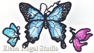 Бабочки крючком в ирландской технике Урок 86