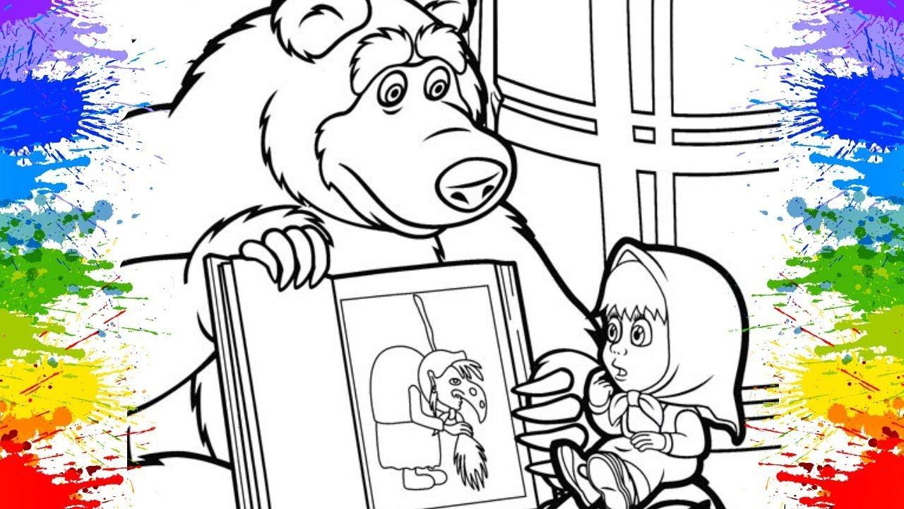 Masha Eo Urso Colorir Desenhos Animados Educativos Para As