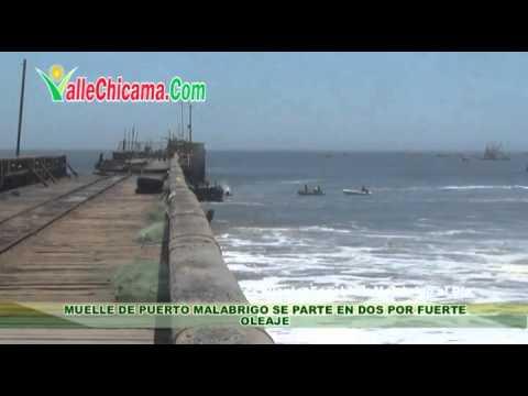 Muelle de Puerto Malabrigo se parte en dos por fuerte oleaje