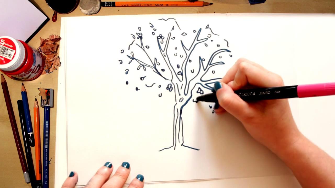 Como Desenhar Uma Arvore Desenhos Para Criancas Youtube