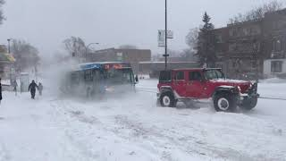 montreal city bus rescue. when a 4runner v8,sequoia & jeep rubicon pull a bus on icy hill