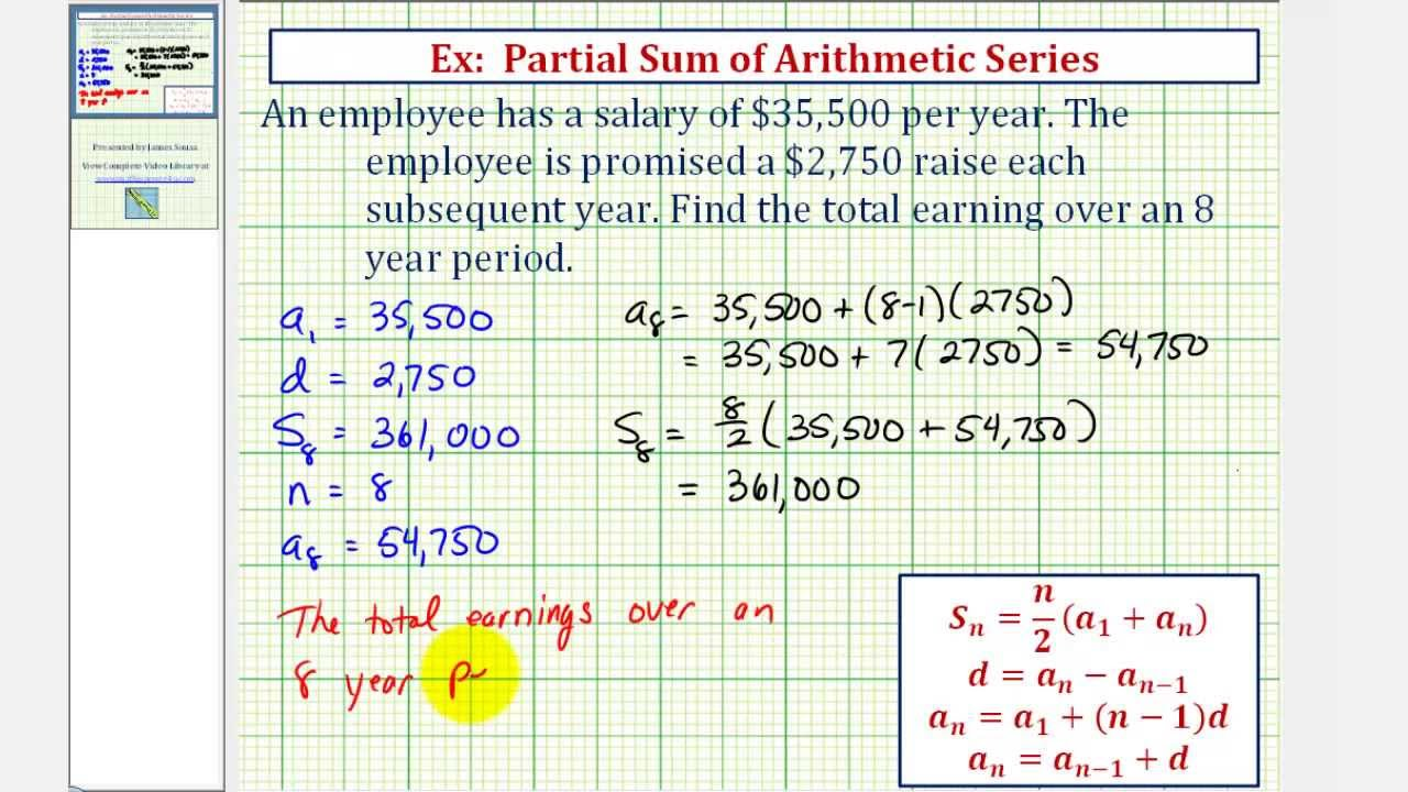 Ex Arithmetic Series Application Salary Youtube