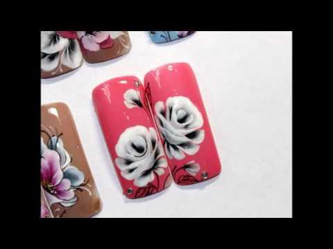Как рисовать Розу на ногтях. Китайская роспись.