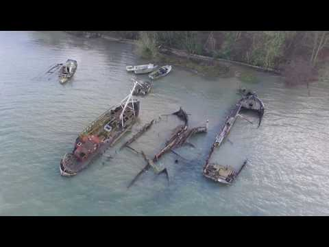 Pin Mill Suffolk by Drone including the barge wrecks