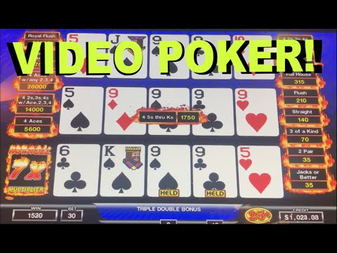 ** TRIPLE-PLAY VIDEO POKER ** $7.50 MAX BET - LIVE PLAY ** HOT ROLL