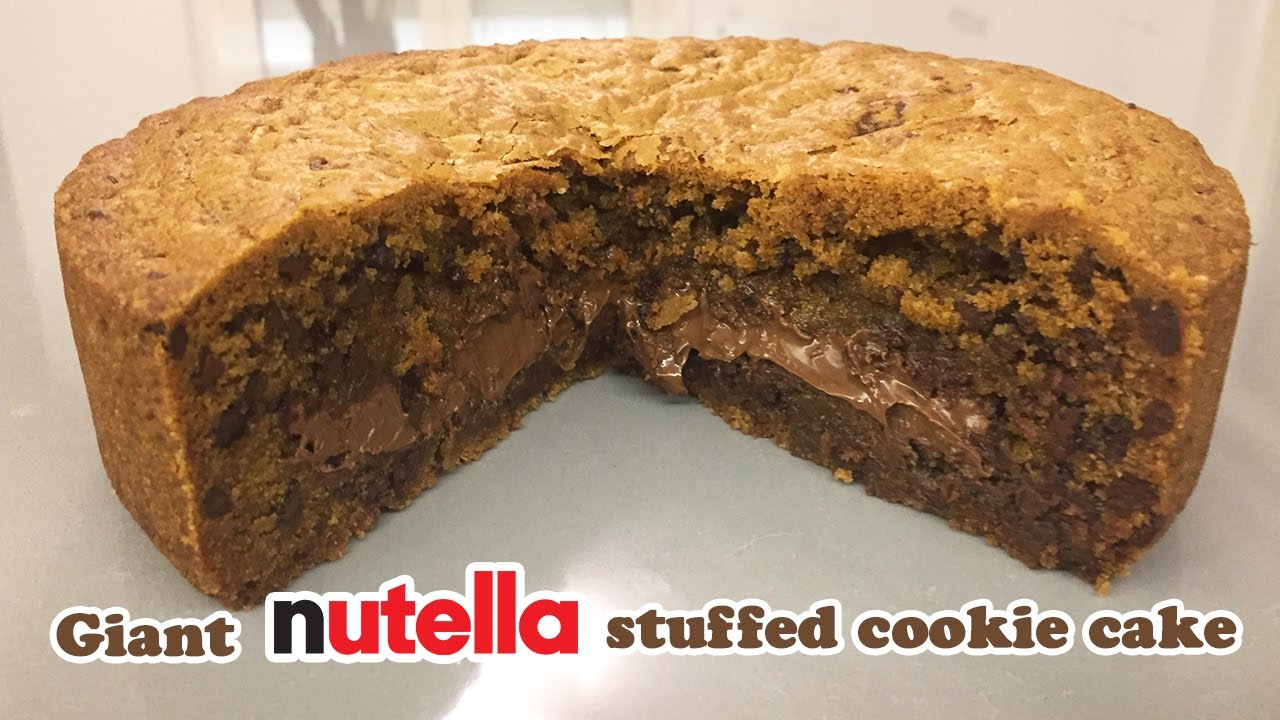 Giant Nutella Filled Cookie Cake - Cheeky Crumbs - YouTube