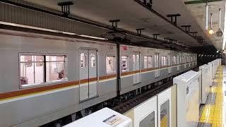 メトロ7000系7105F 新富町到着・発車