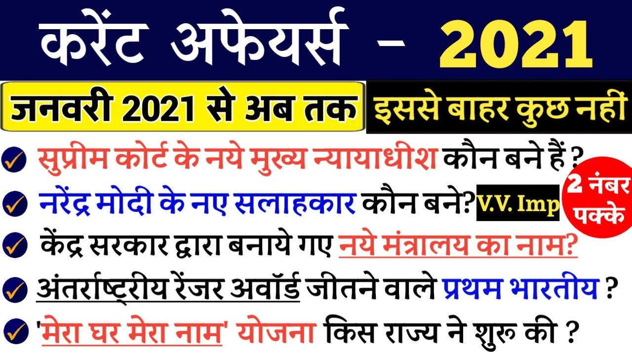 Important Current Affairs 2021 in hindi | करेंट अफेयर्स 2021 | GK 2021 | SSC GD, Police, and all