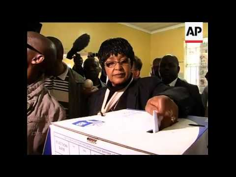 Mandela's former wife Winnie casts her vote in SAfrica election