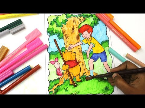 colouring Winnie the Pooh, colouring book pages for Kids, Pooh Bear colouring, Piglet