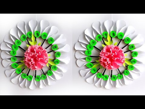 wall decoration ideas with paper / handmade flowers for wall decoration / home decor craft