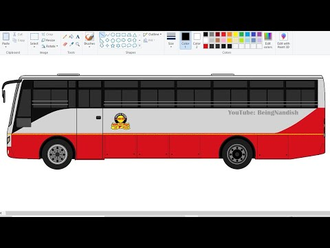 Drawing NEW MSRTC Bus on computer using Ms Paint in easy steps | How to draw Bus | Easy Bus drawing.