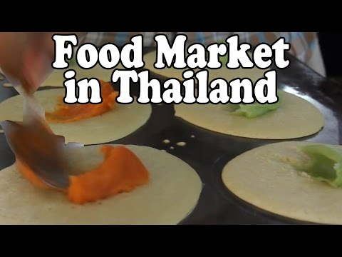 A Walk Around A Thai Morning Market in Thailand. Food Market in Surat Thani