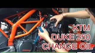 KTM Duke 250 oil change, oil filter change, air filter change by Bong Chhay