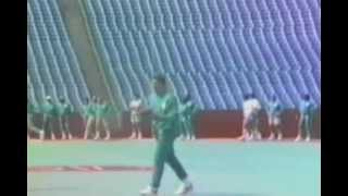 Dan Marino, Miami Dolphins Quarterback, completes a ridiculous pass