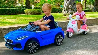 Milena and Stefania Pretend Play with Ride On Cars Toy