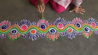 Kolam side designs//simple mugggulu side designs//rangoli side border designs//Chowkpurana designs