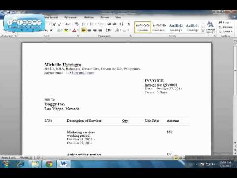 How To Create An Invoice In PDF Format YouTube - Create invoice pdf