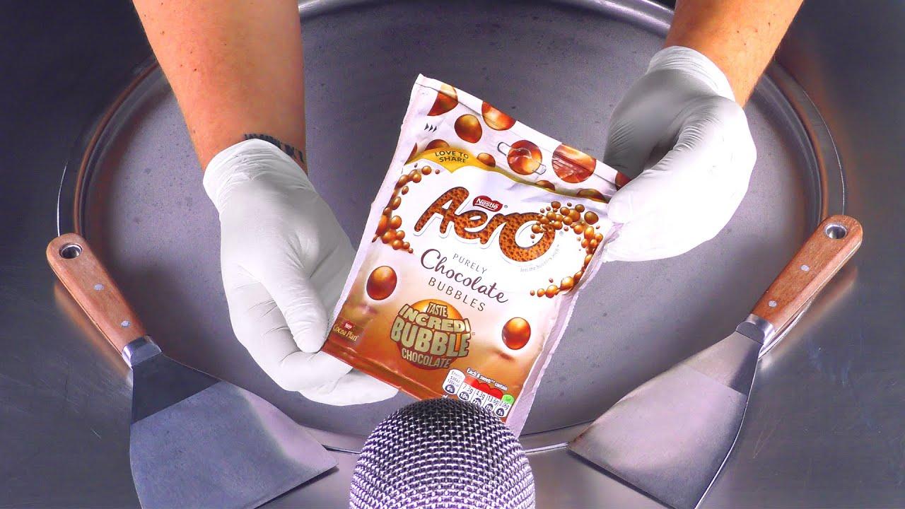 ASMR - Aero Chocolate Bubbles Ice Cream Rolls | Bubble Chocolate rolled fried Ice Cream Dessert Food