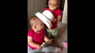 Twins playing with the new potty!