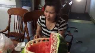 Lao Song: Fruit Carving Baby Bassinet For Baby Shower ຮຽນແກະສະຫຼັກໝາກໄມ້
