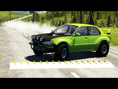 BLOWN UP TIRES - BeamNG Drive Spike Strip...