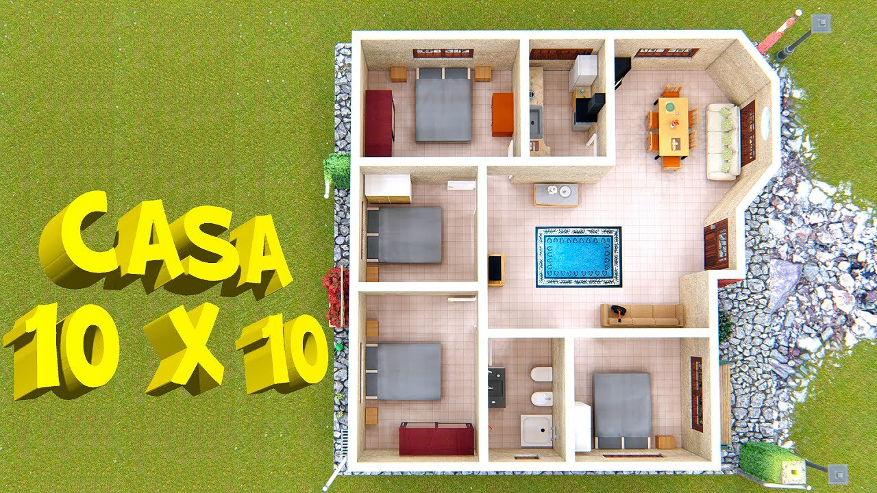 Plano De Casa De Campo 10x10 Mts House Plan 10x10 Youtube