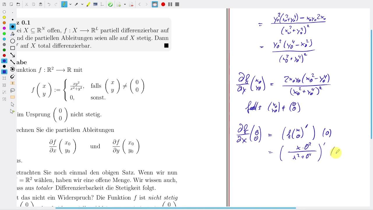 Analysis Aufg 16 20 Partiell Diffbar Stetig Total Diffbar In R N Youtube