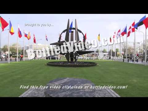 Flags of Member Nations Outside NATO Headquarters in Brussels