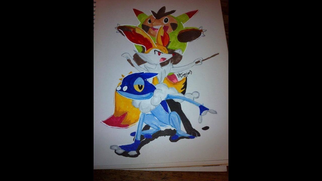 Copic Marker Speed Color Pokmon X And Y Frogadier Braixen Quilladin With Commentary