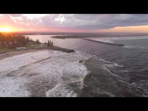 Port Macquarie Australia - The Breakwall And Town Beach After Heavy Rain March 2018'