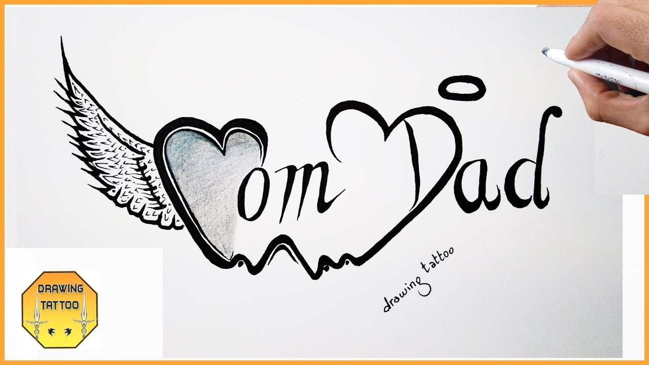 Drawing Mom Dad Tattoo On Paper Family Tattoos Youtube