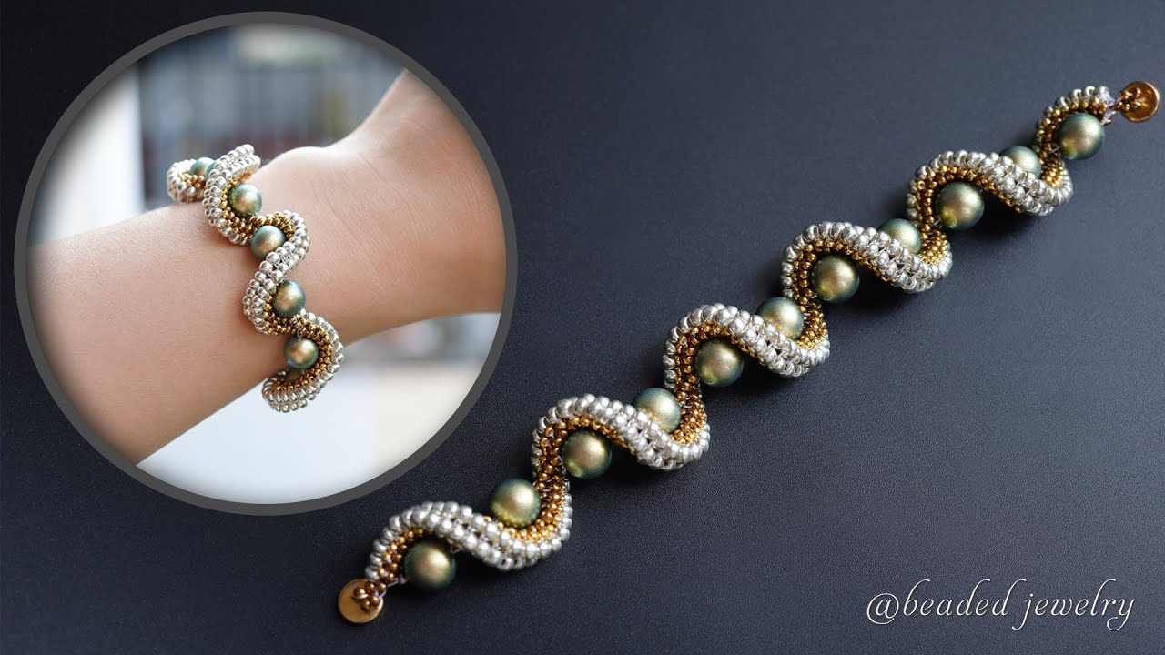 Spiral beaded bracelet with seed beads tutorial. How to make beaded jewelry